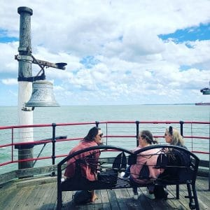 Women at the end of Southend pier