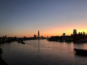 London's skyline sunset